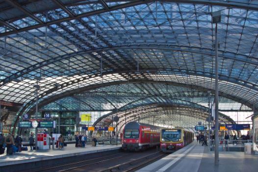 Train travel in Germany, train station, bahnhof