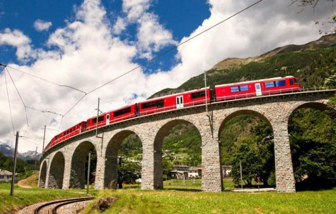 bernina express scenic train ride on the brusio loop