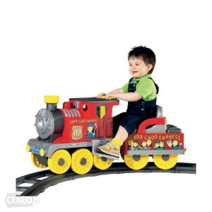 Riding with kids on a train toy