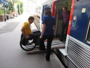 Traveling with a disability, a train ramp for a wheelchair