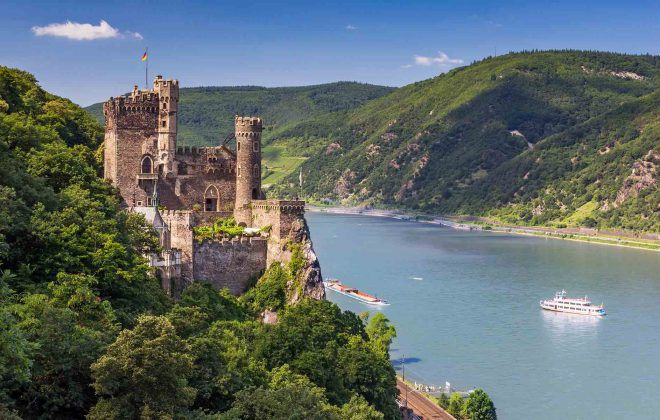rhine river as seen by one of the most scenic train trips