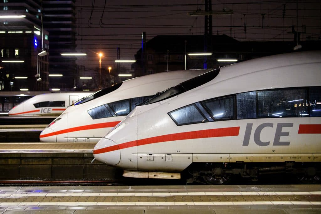 deutschebahn trains in a train station hbf