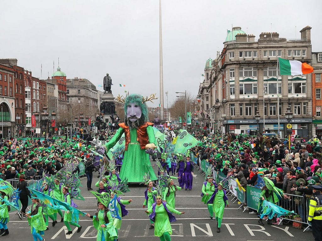 Traveling in Europe in spring st patricks day in dublin