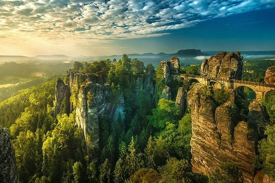 Birds eye view of Saxon Switzerland which is part of National Parks in Europe
